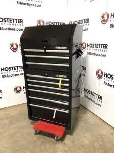 Husky 2 tier tool chest - new - power outlet and USB - casters in drawer - 10 drawers - cart not included