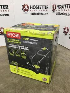 Ryobi 20in cordless snow blower - 40V lithium - new in box - headlights - telescoping handle - push button start