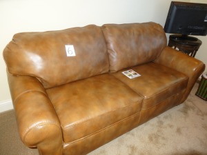 Leather Flexsteel Hide-a-Bed sofa - like new