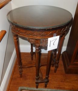 Ornate Antique Round Side Table with Glass Top