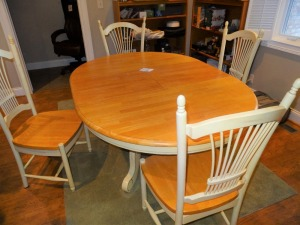 "Oak Dining Table w/ 4 chairs - 66"" x 48"" - foldable leaf"