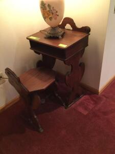 Vintage child size desk with open front and matching chair. Desk measures 18 x 13 x 32. Lamp not included