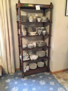 Shelf full of china of various patterns and sizes includes casseroles, cups and saucers, plates, serving platters, serving bowls. See all photos **Excludes shelf**