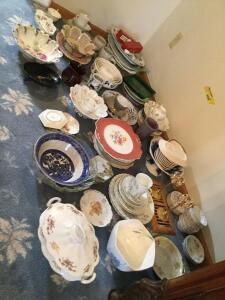 All China, glassware and pottery in corner-Germany, England Many different pieces so be sure to see all photos