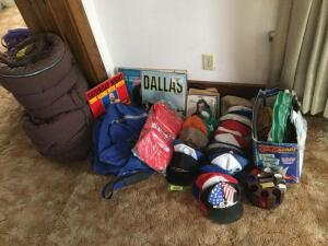 Cool retro trucker caps, 2 nice warm sleeping bags from Montgomery Ward, games, poker chips