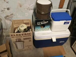 Electric 4 qt. ice cream freezer model 71, igloo and coleman coolers, Entertainment Time ice bucket