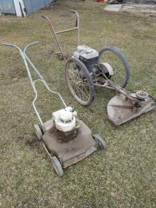 bachtold style walk-behind open blade bicycle wheel weed mower with a newer Briggs & Stratton 5.5 HP gas engine and a relic of an old push mower strai