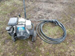 Honda powered 5 horse pressure washer built by spray land on cart with boom and hose cannot find PSI rating on pump
