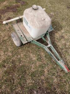 Handy brand lawn sprayer pull behind with boom plastic wheels maybe 10 gallon