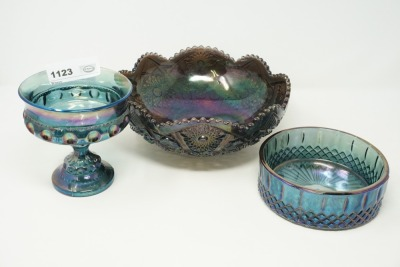 VINTAGE DEPRESSION GLASS STYLE IRIDESCENT COMPOTE AND BOWLS