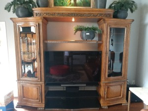 ENTERTAINMENT CENTER, 4 PIECE, ADJUSTABLE WIDTH, VERY NICE ,VERY WELL BUILT, LOTS OF STORAGE AND SHELVING,ALSO HAS BEAUTIFUL SMOKED GLASS INSERTS IN DOORS