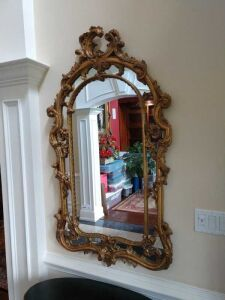 ORNATE WALL MIRROR, HAS VERY UNIQUE DESIGN, APPROX 36-40 INCH TALL