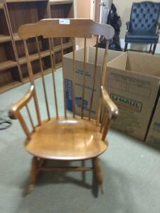 BEAUTIFUL WOODEN ROCKER, LIKE NEW CONDITION.FINISH IS IN GOOD CONDITION AND ALL SPINDLES.