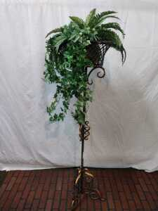 59 INCH TALL PLANT STAND, WITH ARTIFICIAL PLANT AND BASKET