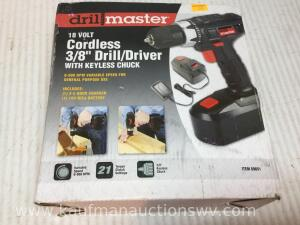 Drillmaster 18 V cordless 3/8 inch drill/driver with keyless chuck