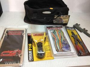 Slingshot, four-way trailer wiring, 8 inch Mig welding pliers, license plate frame, tool bag