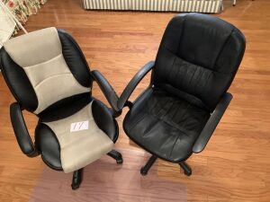 2 office chairs and 1 floor mat