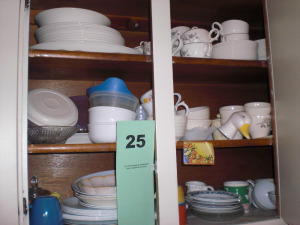 9 SHELVES, CUPS, MUGS, GLASSES, ALLEGHENY WARE, CANONSBURG POTTERY CO, TRELLIS PATTERN CHINA SET, ETC.