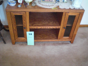 HARDWOOD FINISH TV TABLE WITH SHELVES/DOORS