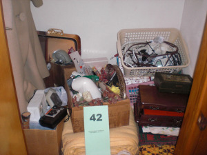 BALANCE OF CLOSET: CAMERAS, ELECTRIC BLANKET, TELEPHONE, HAND TOOLS, JEWELRY BOXES, LINENS