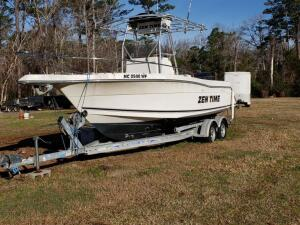 1998 ROBALO 24 ft. Center Console Boat w/ 1998 MERCURY 225 HP Outboard Motor that Starts & Runs, w/ Aluminum LOAD RITE Trailer,Title to Boat & Trailer