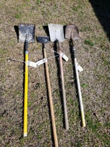 Four (4) Psc: 1) Round Point Shovel 2) Transfer Scoop Shovel 3) Garden Spade 4) Yellow Handle Transfer Scoop Shovel