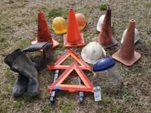 Five (5) Psc Set: 1) Two Emergency Triangles 2) Two Sets of Rubber Boots 3) Four Orange Cones 4) Four Hard Hats 5) Shield Hat