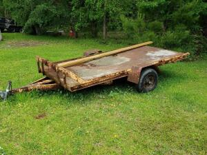 Custom / Home-made Utility Trailer, trailer bed is 12 ft long x 6 ft wide, single axle with steel bed, SELLING WITH NO TITLE