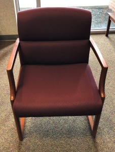 Fabric Straight Arm Chair, Burgundy