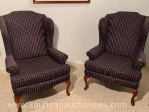 2 Sam Moore wing back upholstered chairs