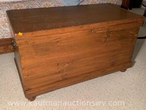 Antique wooden blanket chest