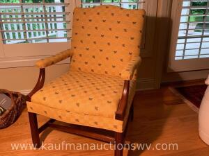 Wooden framed upholstered arm chair
