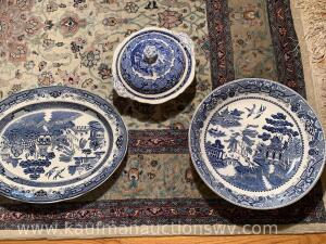 Blue Willow platters and Lidded bowl