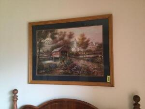 31 x 40 print of covered bridge with church and farm in the background