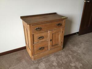 Antique oak commode 16 x 30 x 28 tall and a wall mirror measures 15 x 30