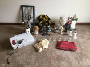 HP deskjet 2546r printer/scanner/copier, variety of home decor and glassware,  ceramic cat, candle holders, Occupied Japan figurine, over the door wreath holder, candle holders, decorative pottery etc