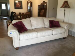 "7' 4"" leather three cushion cream colored sofa by Legacy Leather Inc brand name"