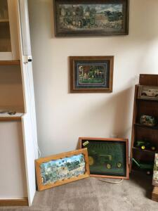 3 John Deere prints-520 tractor with broken glass, Charles Freitag print and an unmarked print with a barn board frame, John Deere clock