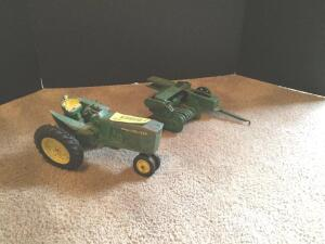 Vintage original John Deere narrow front tractor 20 series and baler,  both with all metal rims
