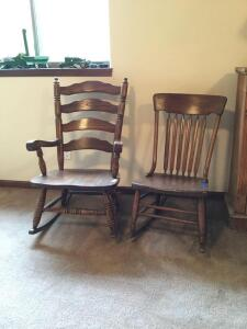 His and her rocking chairs modern oak arm rocker with ladder back and a small antique sewing rocker with arrow back