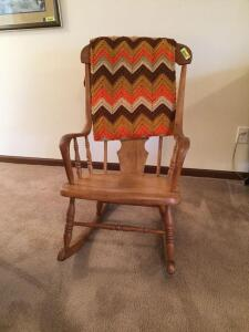 High back bent wood arm rocker probably ash and an afghan