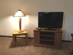 "2013 Philips 33"" flat screen TV with corner stand, oak inlay table and mission style lamp"