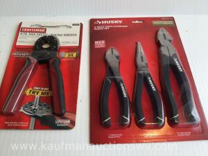 "8"" locking wrench and three piece high leverage plier set"
