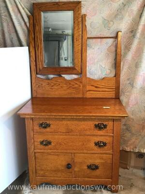 Oak washstand – beveled tilt mirror, dovetail drawers, towel bar