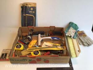 Pry bar, coping saw, stud finder, etc.