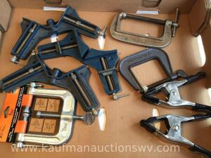 Miter clamps, C clamps, three-way edging clamp
