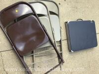 Metal folding chairs and 4 foot folding table