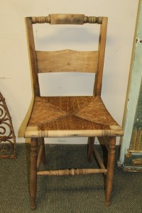 VERY NICE RUSH BOTTOM ANTIQUE CHAIR