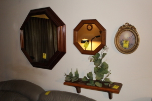 Mirrors, paintings, candle holders, clocks, shelf