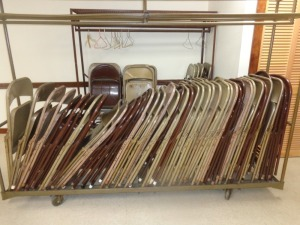 (75) Folding Chairs and (2) Coat Racks